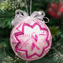 Load image into Gallery viewer, Handmade fabric quilted breast awareness pink ribbon ornament