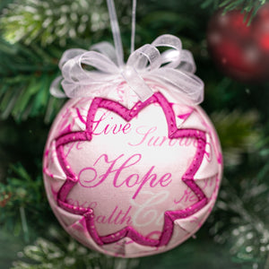 Handmade fabric quilted breast awareness pink ribbon ornament