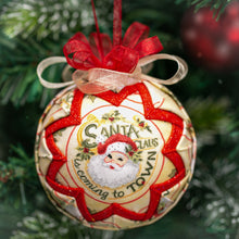 Load image into Gallery viewer, Handmade quilted fabric santa claus Christmas holiday ornament - red