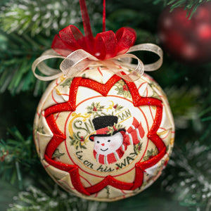 Handmade quilted fabric snowman Christmas holiday ornament - red