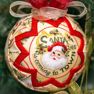 Handmade quilted fabric santa claus Christmas holiday ornament - red