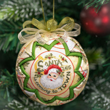 Load image into Gallery viewer, Handmade quilted fabric santa claus Christmas holiday ornament - green
