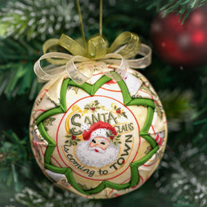 Handmade quilted fabric santa claus Christmas holiday ornament - green