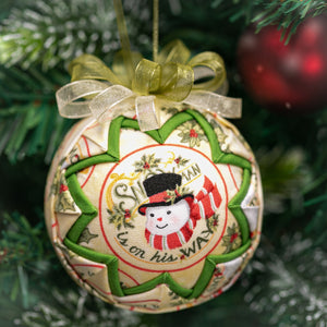 Handmade quilted fabric snowman Christmas holiday ornament - green