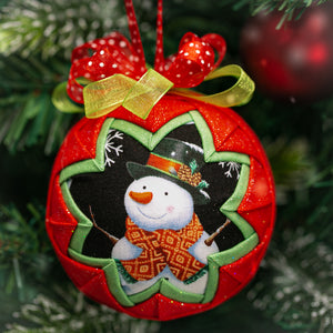 Handmade quilted fabric snowman Christmas holiday ornament