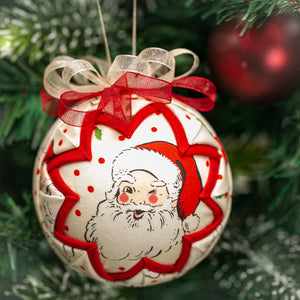 Handmade fabric quilted Santa Claus Christmas holiday ornament