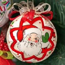 Load image into Gallery viewer, Handmade fabric quilted Santa Claus Christmas holiday ornament