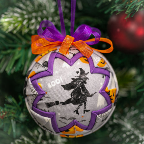 Handmade quilted fabric Halloween witch ornament