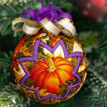 Load image into Gallery viewer, Handmade quilted fabric Fall pumpkin ornament