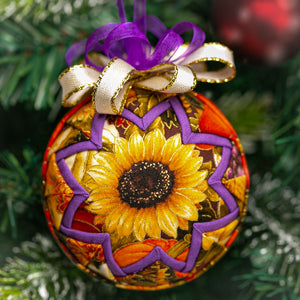 Handmade quilted fabric Fall sunflower ornament