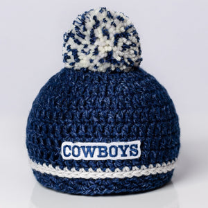 Dallas Cowboys blue and white hand-knitted newborn baby hat