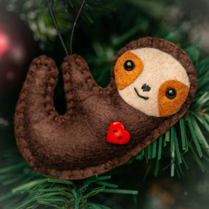 Adorable Handmade Brown Sloth Ornament