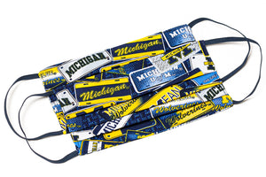 University of Michigan Wolverines pleated cotton face mask