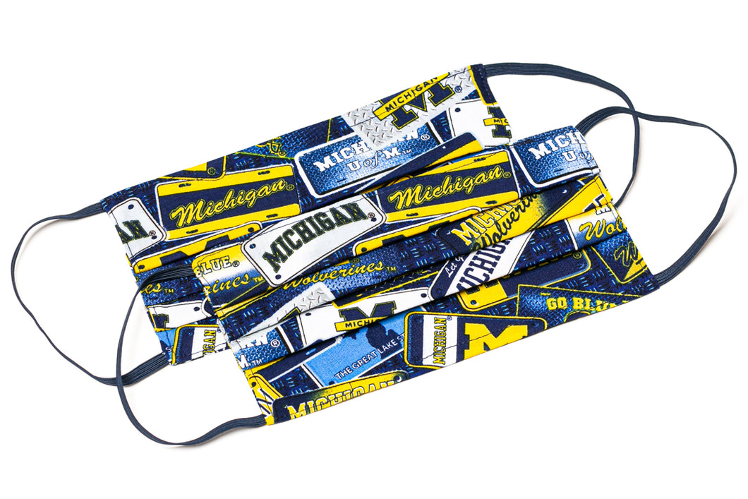 University of Michigan Wolverines license plate cloth face mask