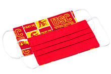 Load image into Gallery viewer, USC Trojans red and yellow pleated cotton face masks