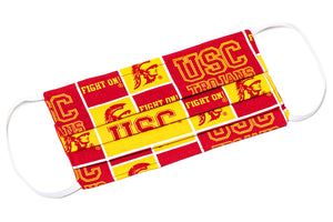 USC Trojans red and yellow pleated cloth face mask