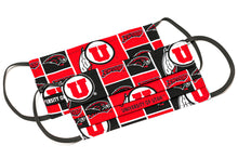 Load image into Gallery viewer, University of Utah Swoop red and black pleated cloth face masks