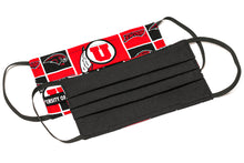 Load image into Gallery viewer, University of Utah Swoop red and black pleated cotton face masks