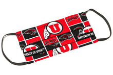 Load image into Gallery viewer, University of Utah Swoop red and black handmade cloth face mask