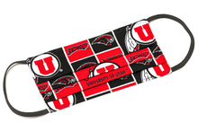 Load image into Gallery viewer, University of Utah Swoop red and black handmade cotton face mask