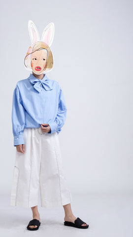 Baby Blue Long Sleeves Stripe Shirt
