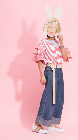 Red stripe frill sleeves tee