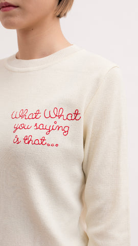 Red embroidery wording knitted top