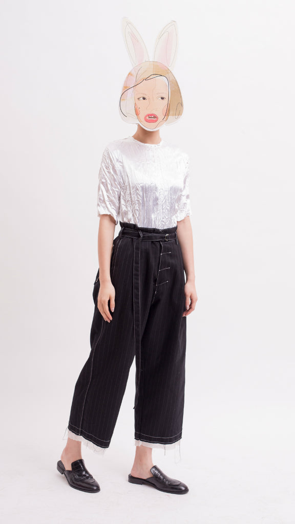 Pinstripe Peg Trousers with belt