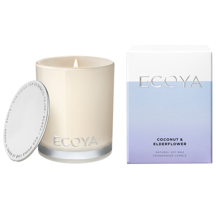 ECOYA Scented Candle, Coconut & Elderflower, 400 gm