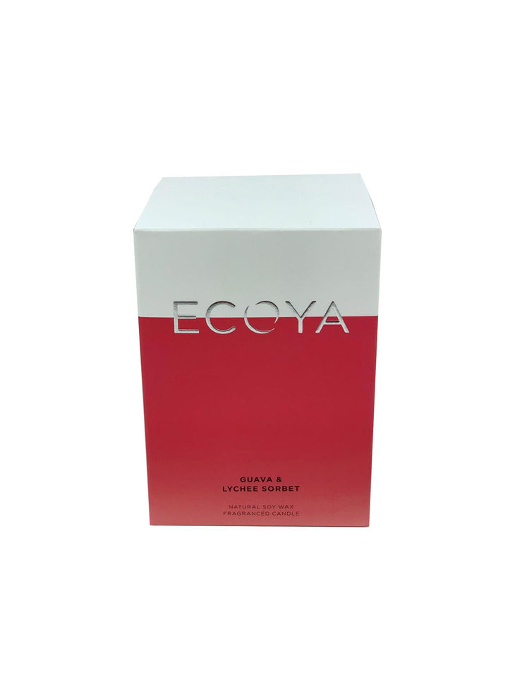 ECOYA Scented Candle, Guava & Lychee Sorbet, 400 gm