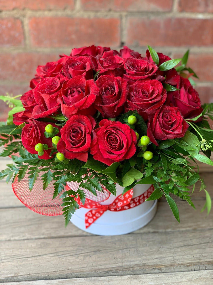 Hat Box with 24 Red Roses