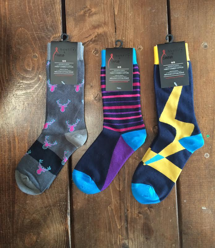 Bustle+CANFAR 'Safe Sox' - 3 Pack Box - Pink Deer, Dark Stripe, Yellow Lightning - bustleclothing.shop