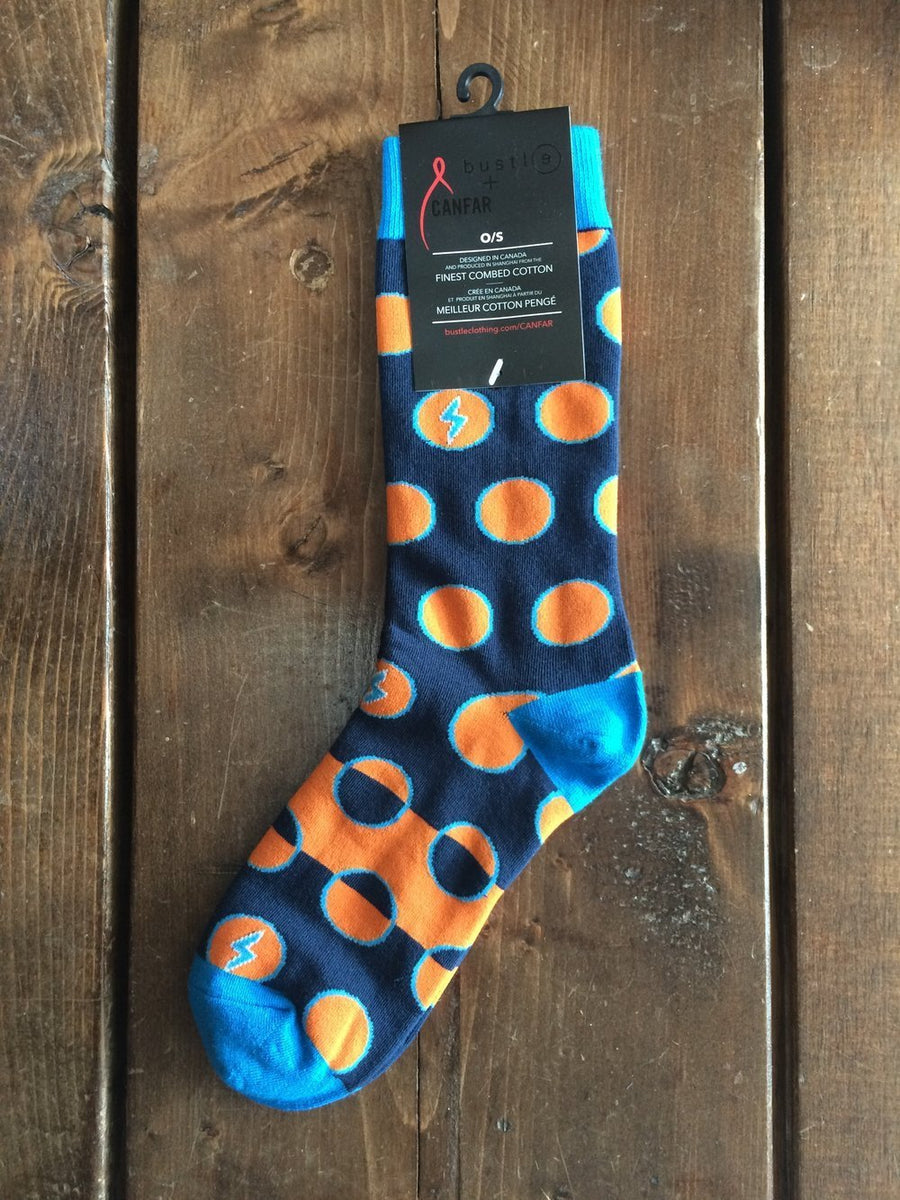 Bustle+CANFAR 'Safe Sox' - Orange Dots - bustleclothing.shop
