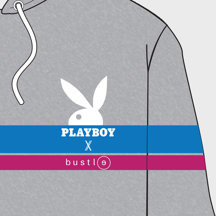 Hoodie in grey w/ half rabbit head, blue & fuchsia stripes - bustleclothing.shop
