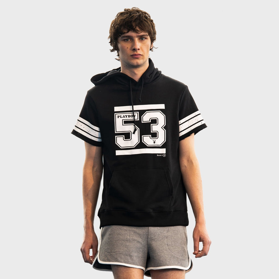 Playboy x Bustle | Collegiate | Football Practice Hoodie Short-Sleeved | Black w '53 Graphic - bustleclothing.shop