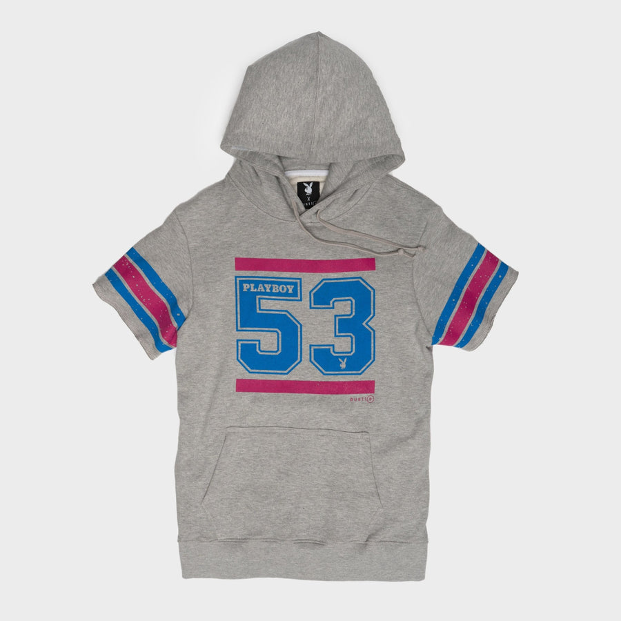 Playboy x Bustle | Collegiate | Football Practice Hoodie Short-Sleeved | Grey w '53 Graphic - bustleclothing.shop