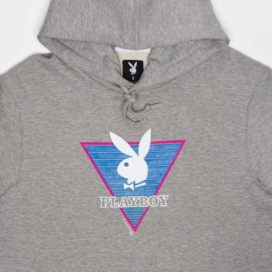 Playboy x Bustle | Collegiate | Football Practice Hoodie Short-Sleeved | Grey w Triangle Graphic - bustleclothing.shop