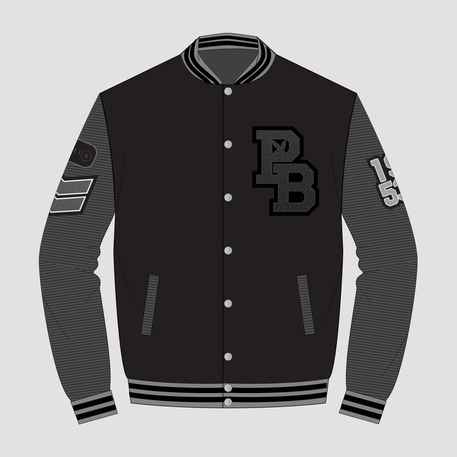Playboy x Bustle | Collegiate | Letterman Varsity Jacket | Black + Black Quilted Sleeves - bustleclothing.shop