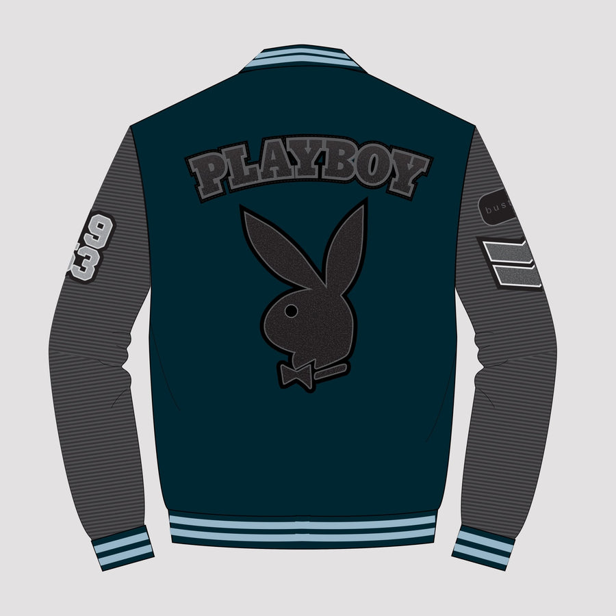 Playboy x Bustle | Collegiate | Letterman Varsity Jacket | Dark Teal + Black Quilted Sleeves - bustleclothing.shop