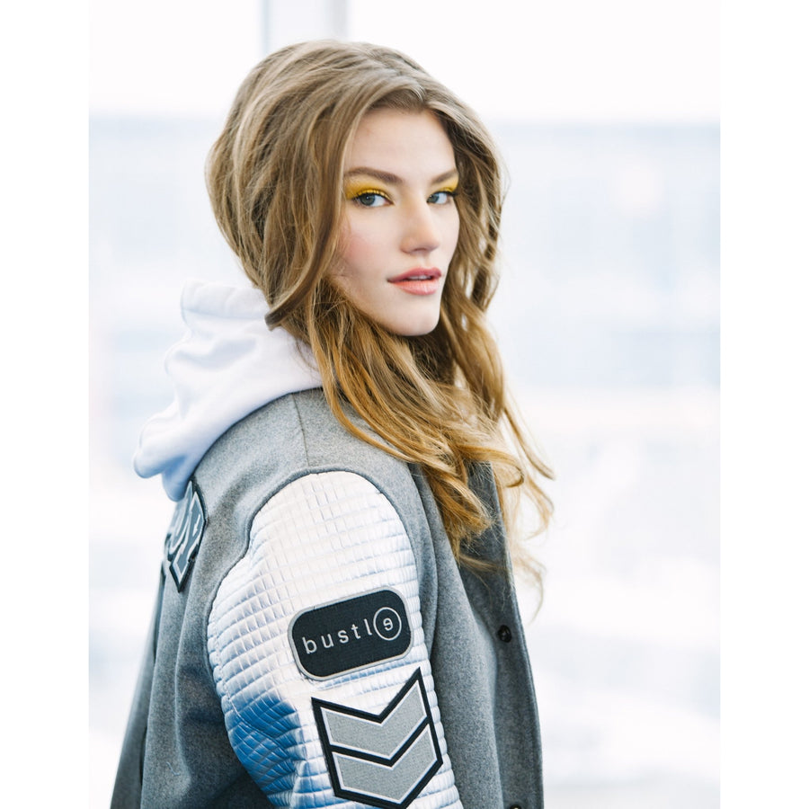 Playboy x Bustle | Collegiate | Letterman Varsity Jacket | Grey + Silver Quilted Sleeves - bustleclothing.shop