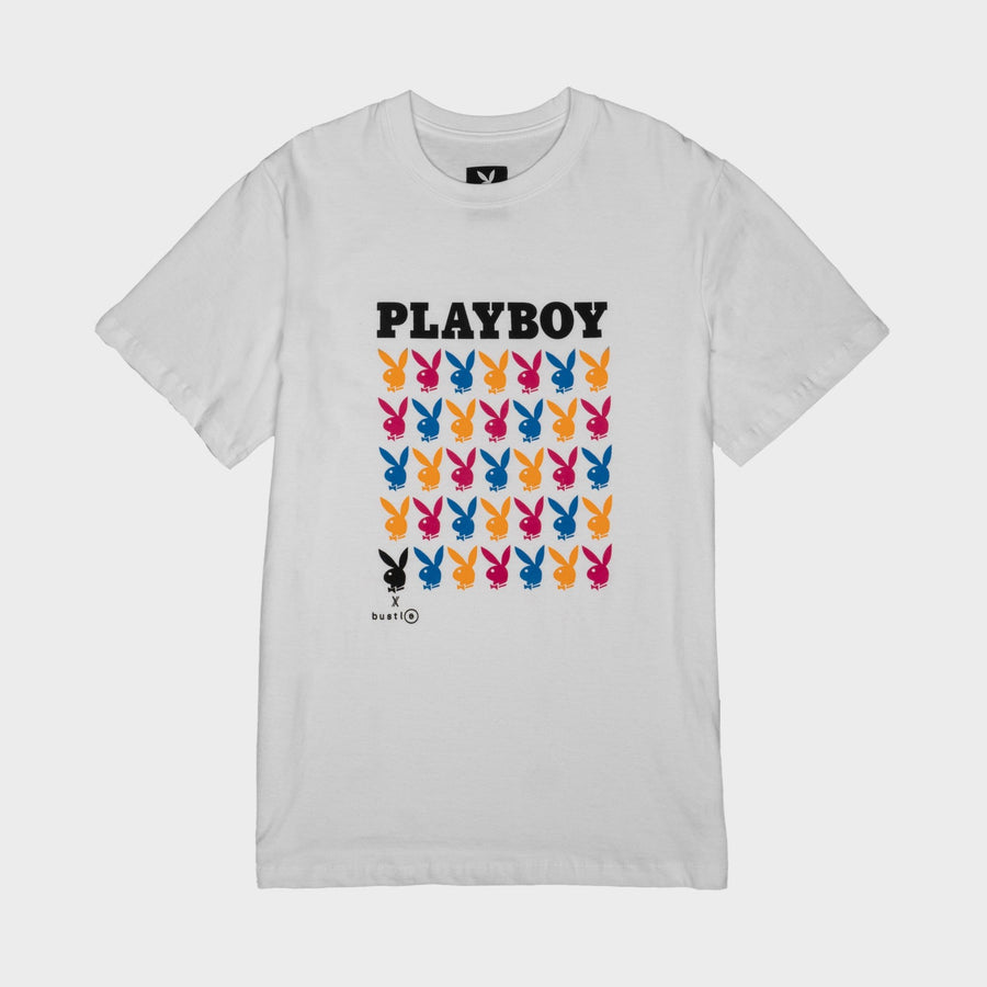Playboy x Bustle | Heritage | Vintage Inspired T-Shirt | White w/ Repeating Rabbit Heads - bustleclothing.shop