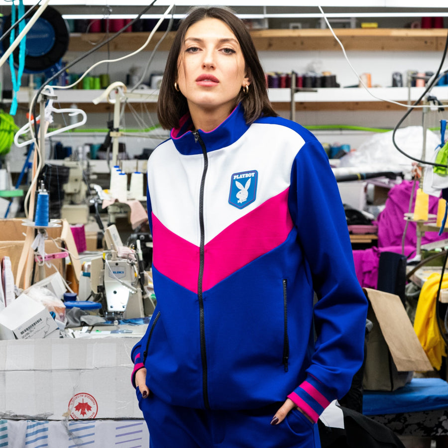 Playboy x Bustle | Heritage | Zip-Front Jacket | Cobalt + Off-White and Fuchsia - bustleclothing.shop