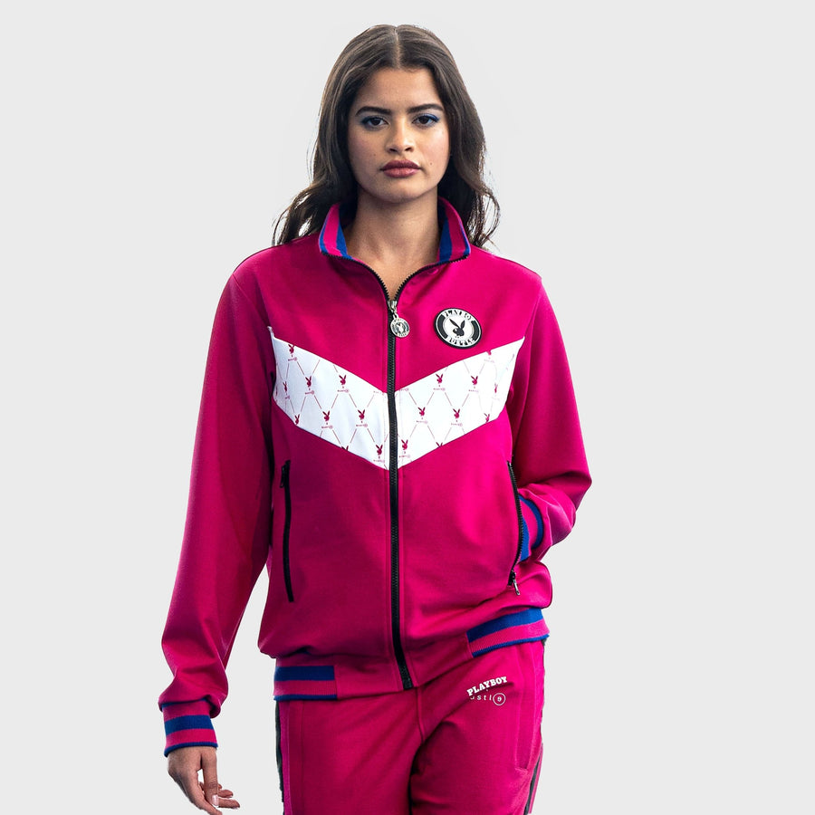 Playboy x Bustle | Heritage | Zip-Front Jacket | Fuchsia + Printed White - bustleclothing.shop