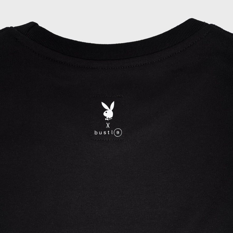 Playboy x Bustle | Millennial | Crewneck | Black w White Bustle Print + Blue Rabbit Head Outline - bustleclothing.shop