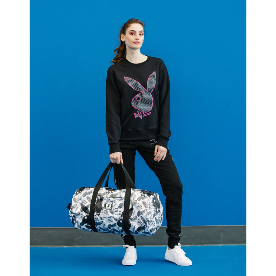 Playboy x Bustle | Millennial | Crewneck | Black w White Bustle Print + Pink Rabbit Head Outline - bustleclothing.shop