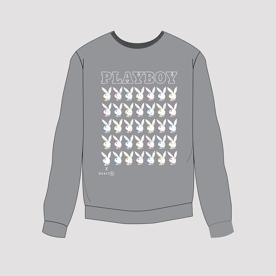 Playboy x Bustle | Millennial | Crewneck | Grey w Repeating Rabbit Heads - bustleclothing.shop