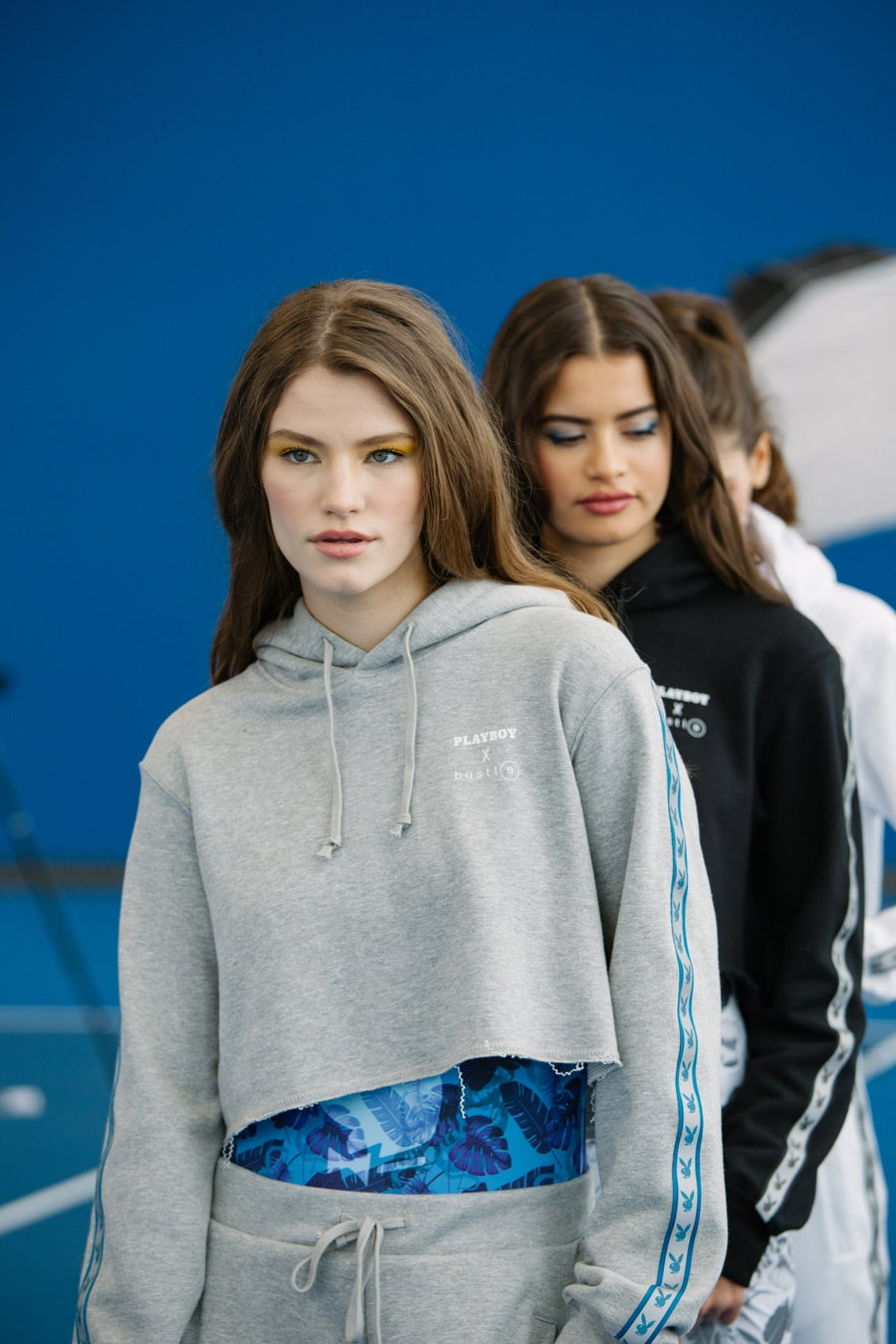 Playboy x Bustle | Millennial | Cropped Hoodie | Grey w Blue Rabbit Head Tape - bustleclothing.shop