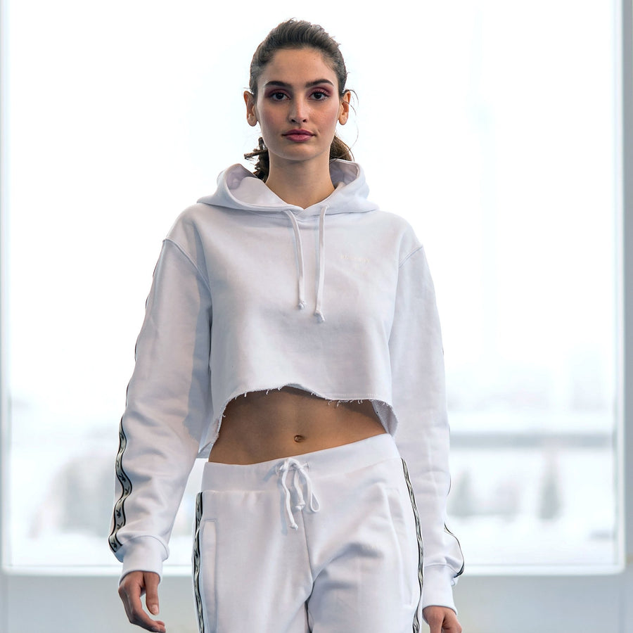 Playboy x Bustle | Millennial | Cropped Hoodie | White w Black Rabbit Head Tape - bustleclothing.shop
