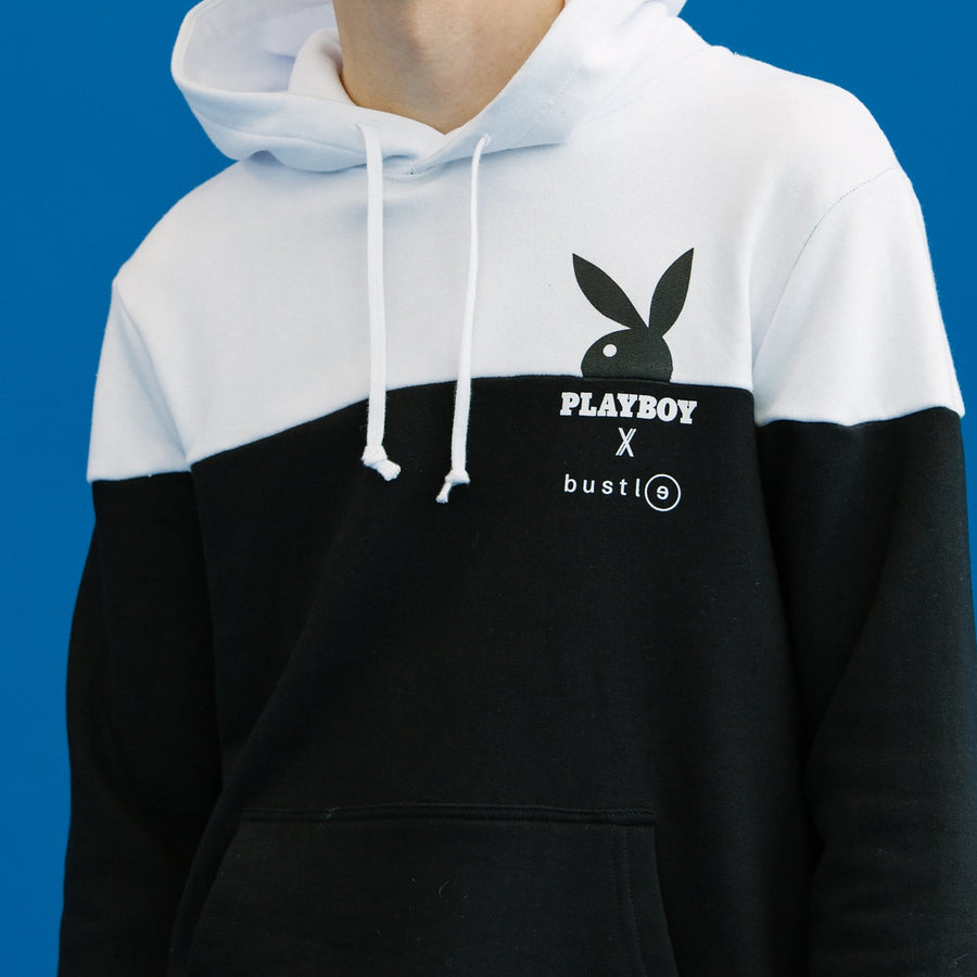 Playboy x Bustle | Millennial | Hoodie | Black + White Colour Blocked w Half Rabbit Head - bustleclothing.shop