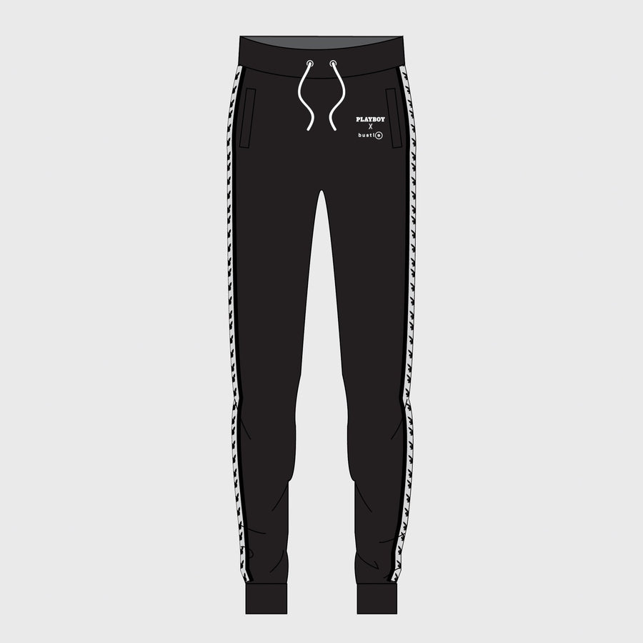 Playboy x Bustle | Millennial | Joggers | Black w Black Rabbit Head Tape - bustleclothing.shop